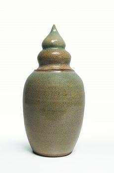 Keramikurna grön